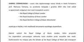 List gratulacyjny Dyrektora Szkoły - stypendium ucznia Gabriela Czerniejewskiego