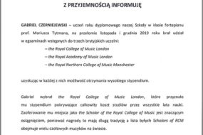 Gabriel Czerniejewski  - stypendium The Royal College of Music, London