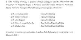 List gratulacyjny Dyrektora Szkoły - odznaczenia państwowe