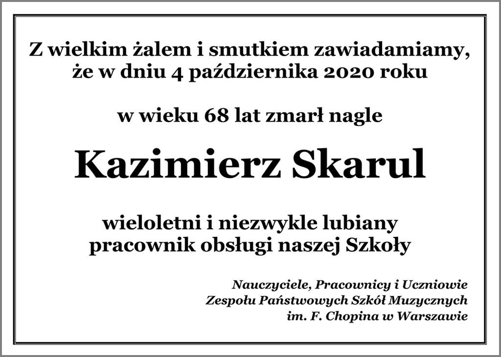 Nekrolog - Kazimierz Skarul