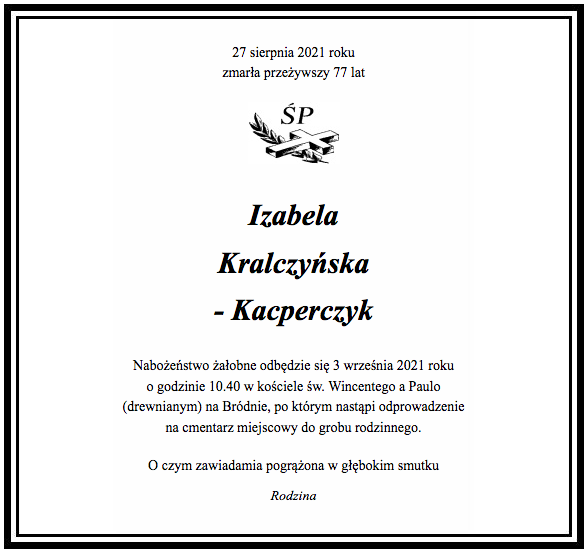 Izabela Kralczyńska-Kacperczyk - nekrolog